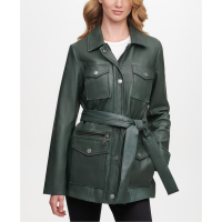 DKNY Women's 'Belted Snap' Leather Jacket